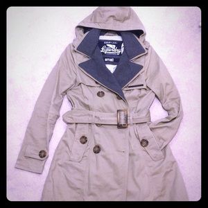 Tan Superdry trench coat